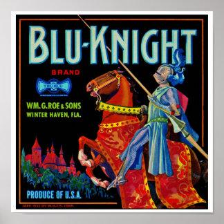 Etiqueta azul de la fruta del caballero posters