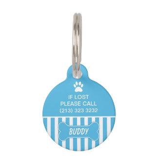 Etiqueta azul de la identificación del perro del h placa para mascotas