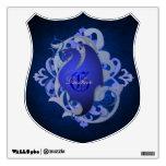 Etiqueta azul de la pared del escudo del dragón de