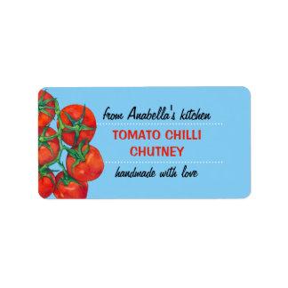 Etiqueta azul de los cotos de la cocina de los tom etiqueta de dirección