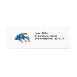 Etiqueta azul de los pescados etiquetas de remite