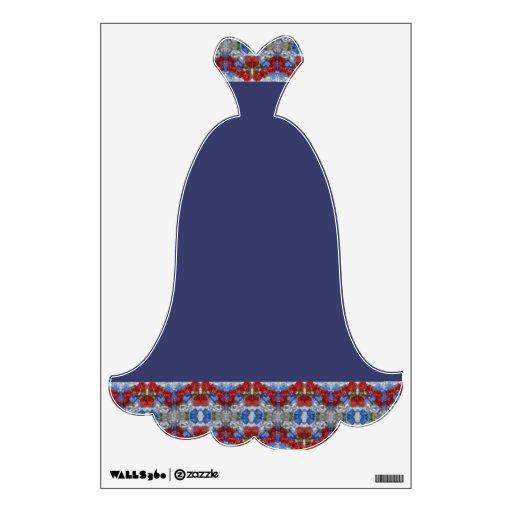 Etiqueta azul de lujo de la pared del vestido de n