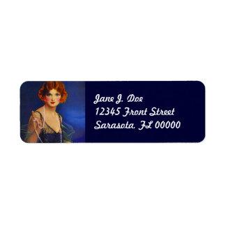 Etiqueta azul de medianoche del remite del vestido etiqueta de remite