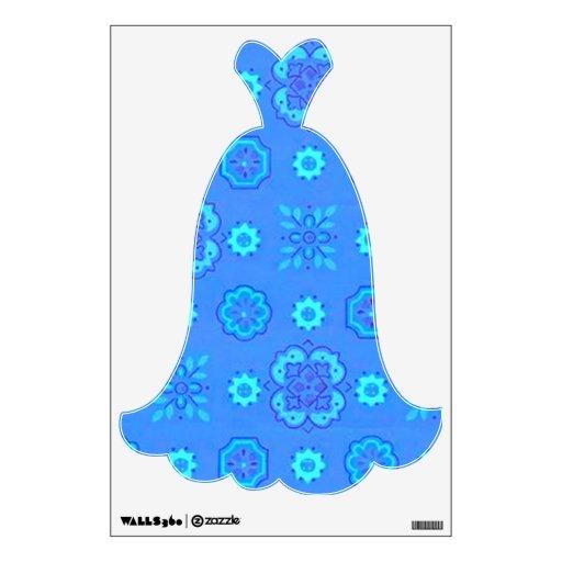 Etiqueta azul de neón de la pared del vestido de n