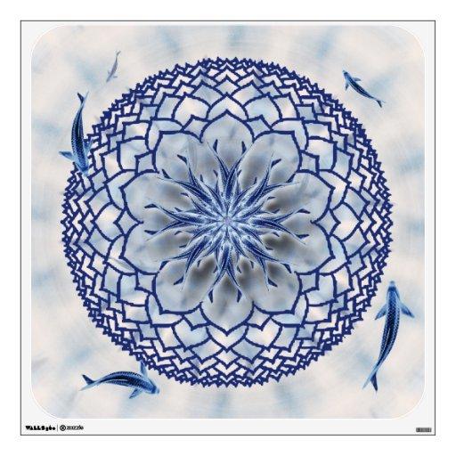 Etiqueta azul del arte de la pared de la mandala d