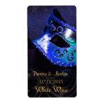 Etiqueta azul del boda del vino de la mascarada de etiqueta de envío