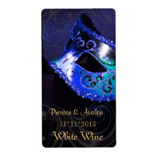 Etiqueta azul del boda del vino de la mascarada de etiquetas de envío