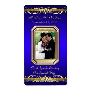 Etiqueta azul del boda del vino del oro de la gran etiqueta de envío