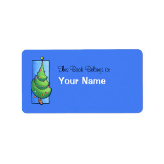 Etiqueta azul del Bookplate del árbol de navidad Etiqueta De Dirección