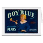 Etiqueta azul del cajón de la pera del muchacho tarjeta de felicitación