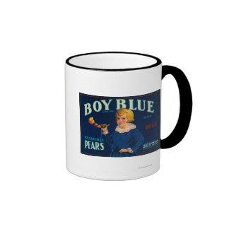 Etiqueta azul del cajón de la pera del muchacho taza de dos colores