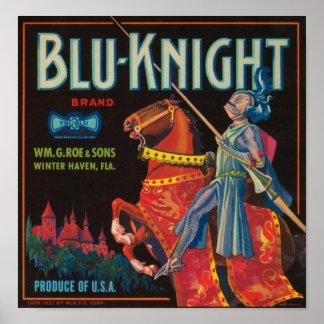 Etiqueta azul del cajón del vintage del caballero impresiones