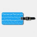 Etiqueta azul del equipaje de la partitura etiquetas maletas