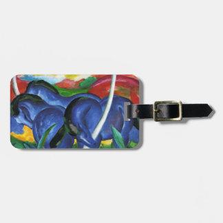 Etiqueta azul del equipaje de los caballos de Fran Etiquetas Maleta