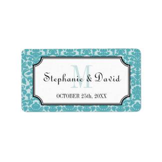Etiqueta azul del favor del boda del marco del dam etiquetas de dirección