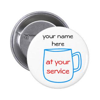 Etiqueta azul del nombre de la taza de café pin redondo de 2 pulgadas
