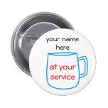 Etiqueta azul del nombre de la taza de café pins