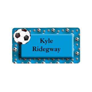 Etiqueta azul del nombre del balón de fútbol etiqueta de dirección
