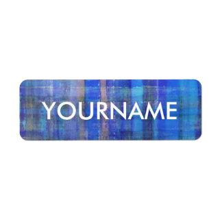 Etiqueta azul del nombre del modelo rayado del etiqueta de remitente
