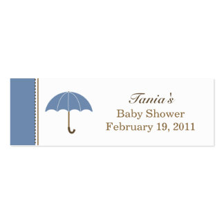 Etiqueta azul del paraguas pequeña tarjetas de visita mini