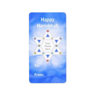 Etiqueta azul del regalo de la estrella de Jánuca Etiqueta De Dirección