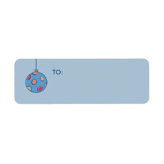 Etiqueta azul del regalo de las bolas retras del etiqueta de remite