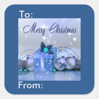 Etiqueta azul del regalo de las chucherías de las