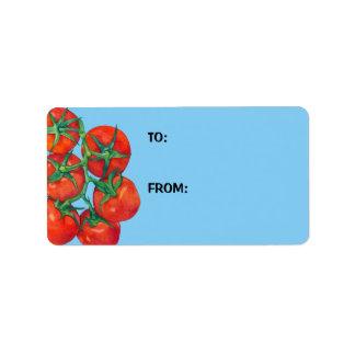 Etiqueta azul del regalo de los tomates rojos etiquetas de dirección