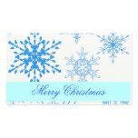 Etiqueta azul del regalo del copo de nieve tarjetas personales