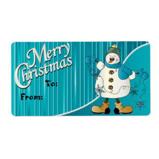 Etiqueta azul del regalo del muñeco de nieve de etiquetas de envío