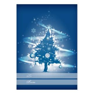 Etiqueta azul del regalo del navidad del árbol de  tarjeta de visita