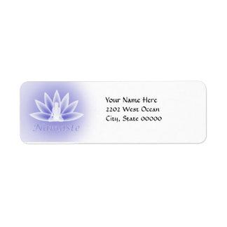 Etiqueta azul del remite de la flor de la mujer de etiquetas de remite