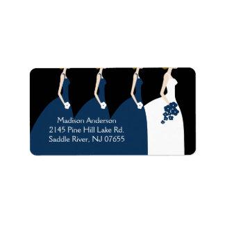 Etiqueta azul del remite de la novia y de las dama etiquetas de dirección