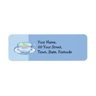 Etiqueta azul del remite de la taza de té blanca etiqueta de remite