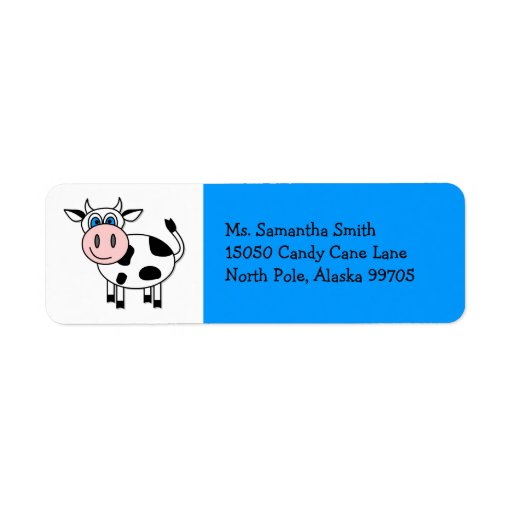 Etiqueta azul del remite de la vaca feliz etiqueta de remite