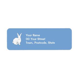 Etiqueta azul del remite del conejo etiqueta de remite