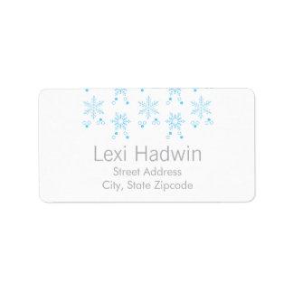 Etiqueta azul del remite del copo de nieve el | etiqueta de dirección
