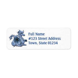 Etiqueta azul del remite del dragón etiquetas de remite