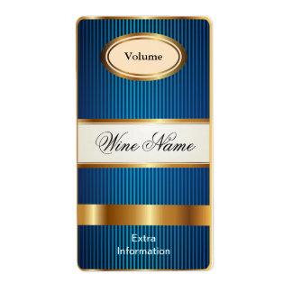 Etiqueta azul del vino del estante superior etiqueta de envío