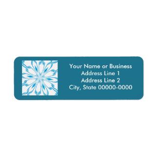 Etiqueta azul floreciente del remite de la escama etiqueta de remitente