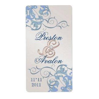 Etiqueta azul Jeweled Champán azul del vino del re Etiqueta De Envío