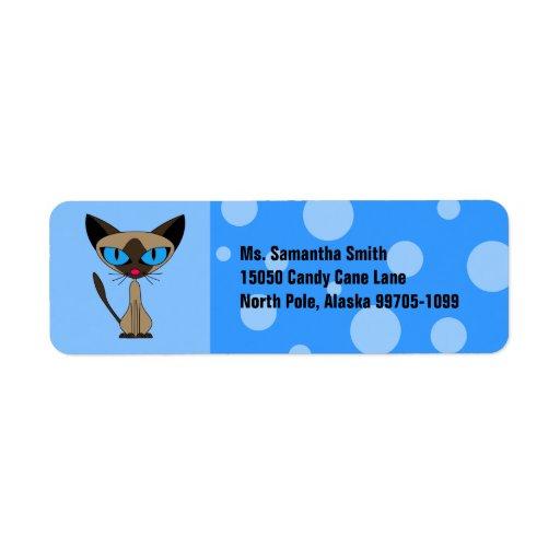Etiqueta azul linda del remite del gato siamés etiqueta de remite