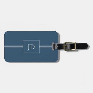 Etiqueta azul marino elegante simple del equipaje