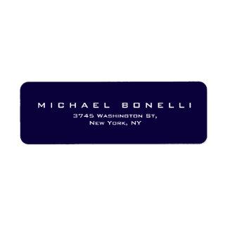 Etiqueta azul marino llana elegante del remite etiqueta de remitente