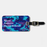 Etiqueta azul marino y púrpura del equipaje del etiqueta para maleta