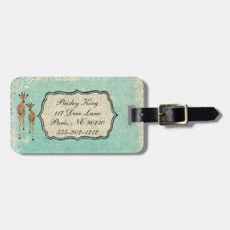 Etiqueta azul y ambarina del equipaje de las jiraf etiqueta para maleta
