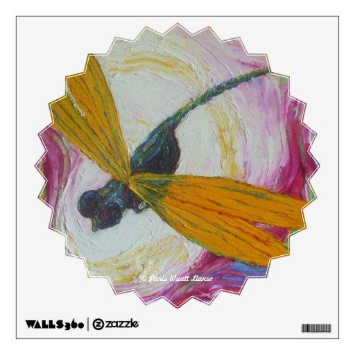 Etiqueta azul y anaranjada de la pared de la libél