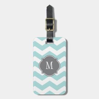 Etiqueta azul y blanca del equipaje del monograma  etiquetas para maletas