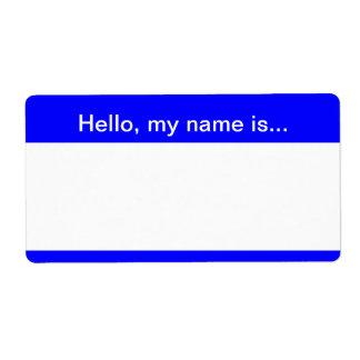 Etiqueta azul y blanca del nombre corporativo - et etiqueta de envío