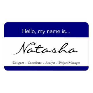 Etiqueta azul y blanca del nombre corporativo - tarjetas de visita